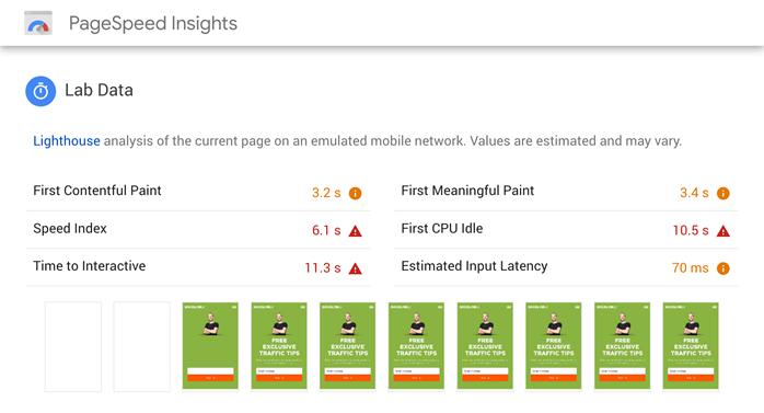 PageSpeed见解 - 问题