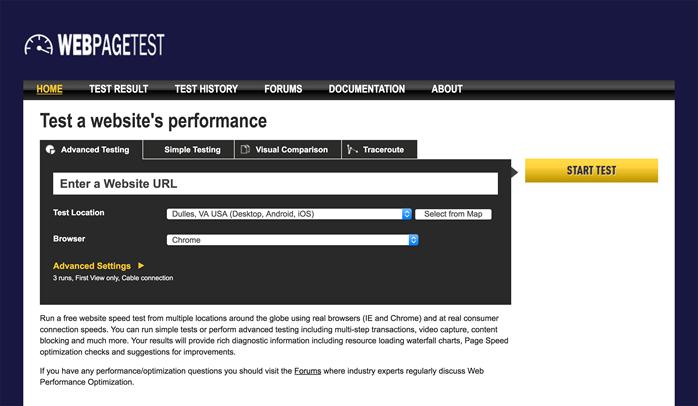 WebPageTest  - 搜索