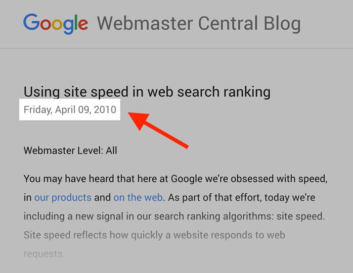 网站速度是一个因素 - 自2010年以来