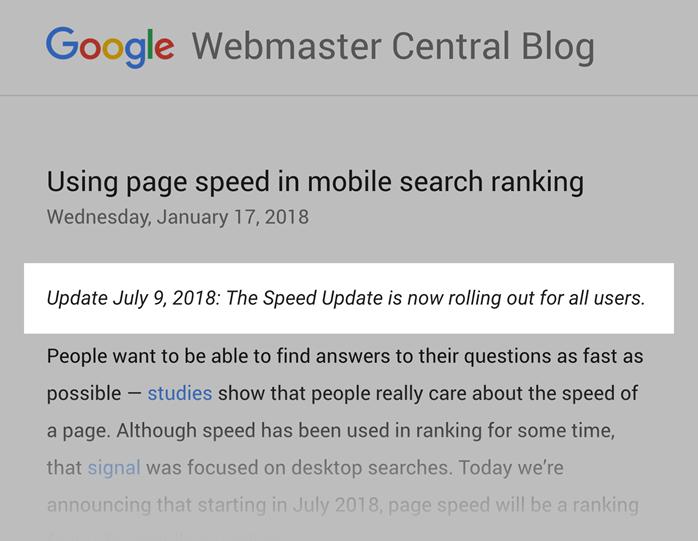 网站速度更新,2018年